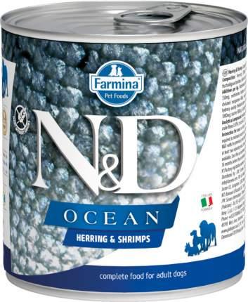 Влажный корм для собак Farmina N&D Ocean, сельдь и креветки, 285г