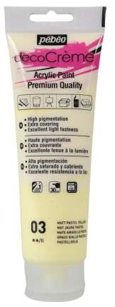 Акриловая краска Pebeo decoCreme кремовая матовая 089003 желтый пастельный 120 мл