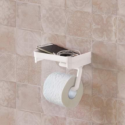 Держатель для туалетной бумаги с полочкой (белый)