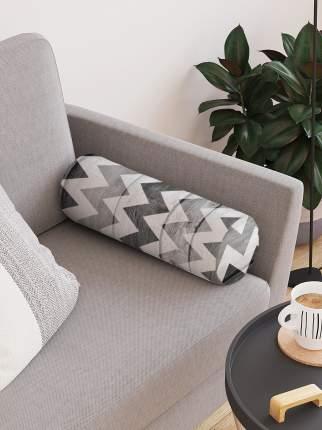 JoyArty Декоративная подушка-валик «Будничный зигзаг» на молнии, 45 см, диаметр 16 см