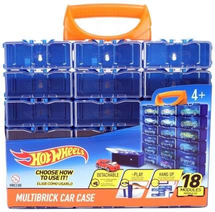 Портативный кейс конструктор для машинок Hot Wheels, 18 мини боксов