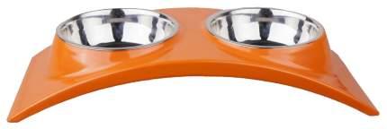 Двойная миска для кошек и собак DEZZIE, пластик, сталь, оранжевый, серебристый, 0.7 л