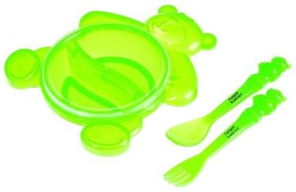 Тарелка с крышкой, вилкой и ложкой Canpol Медвежонок арт, 2/422, 6+, Зеленый