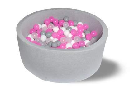 Сухой бассейн Розовый праздник 40см, с 200 шарами серый, бел, прозр, розов,