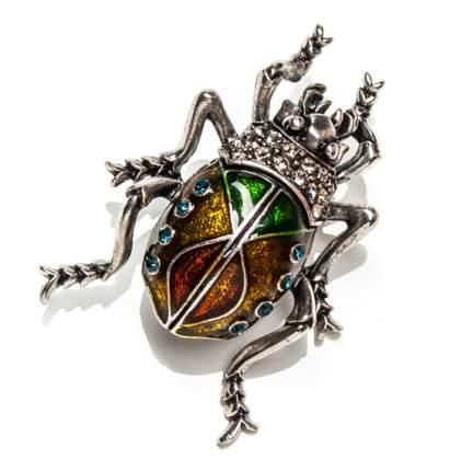 Брошь Moon Paris многоцветный жук со стразами (серебристый)