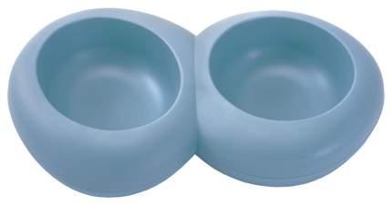 Двойная миска для кошек и собак IMAC, пластик, резина, голубой, 2 шт по 0.6 л
