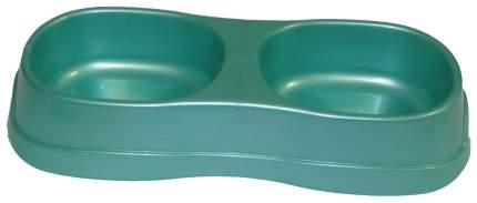 Двойная миска для кошек и собак Мини класс, пластик, зеленый, синий, 2 шт по 0.3 л