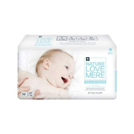 Подгузники Nature love mere slim premium diaper s 4-7 кг, 52 шт.