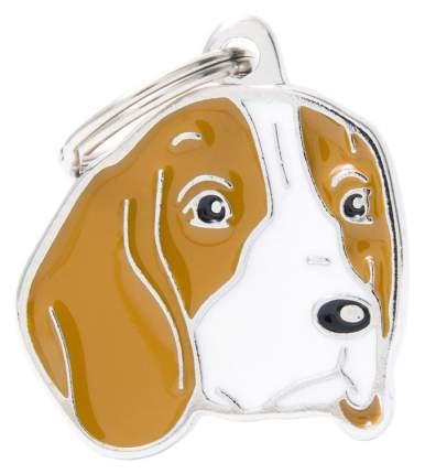 Адресник на ошейник для собак My Family Colors Бигль, средний, 2,7х2,8 см
