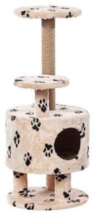 Комплекс для кошек Пушок Круглый со ступенькой на ножках Бежевый с лапками