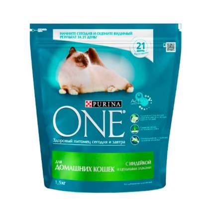 Сухой корм для кошек Purina One, для домашних, индейка, цельные злаки, 1,5кг