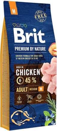Сухой корм для собак Brit Premium By Nature Adult M, для средних пород, курица, 15кг
