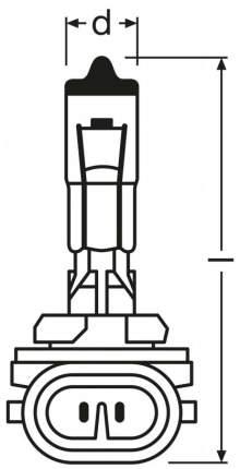Лампа галогенная автомобильная OSRAM H27W 2 12V 27W PGJ13 (881)
