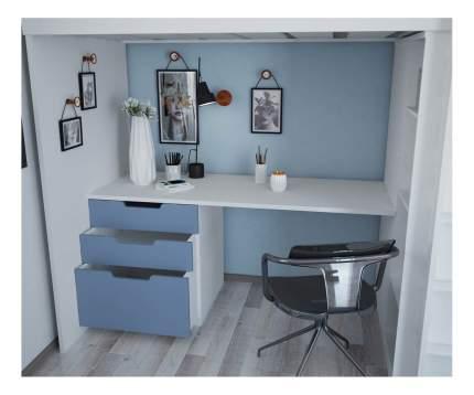 Кровать-чердак Polini Simple с письменным столом и шкафом, белый-синий
