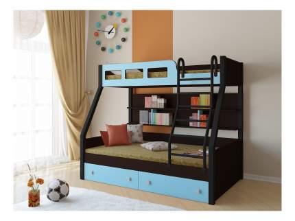 Двухъярусная кровать РВ мебель Рио каркас венге/черный голубая