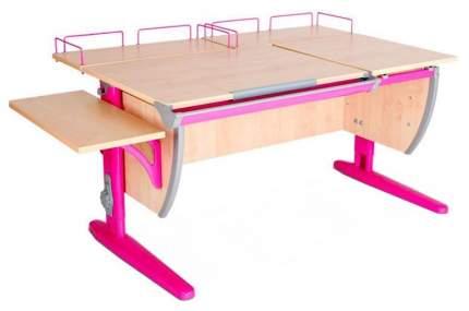Парта Дэми СУТ 17-02 с двумя задними и боковой приставками Клен Розовый 120 см