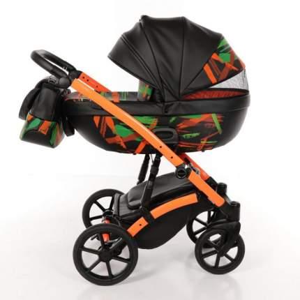TAKO NEON TN-02 Коляска детская 2 в 1 (черная кожа/рама оранжевая/светящийся узор)