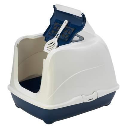 Туалет для кошек MODERNA Flip Cat, прямоугольный, синий, 58х45х42 см