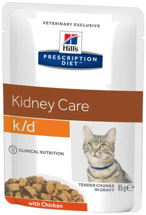 Влажный корм для кошек Hill's Prescription Diet k/d Kidney Care, курица, 12шт по 85г