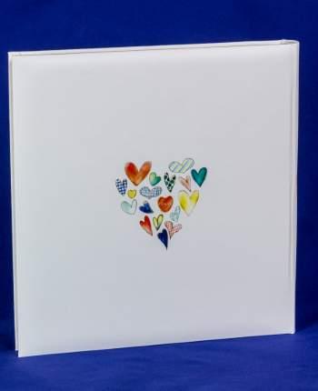"""Фотоальбом """"Сердца"""" на 60 магнитных страниц 31х32 см, подарочный кейс"""