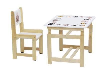 Комплект растущей детской мебели Polini Eco 400 SM Смайл белый-натуральный