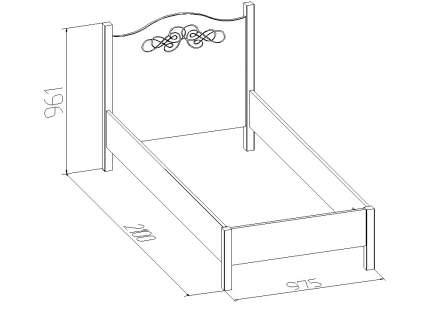Кровать односпальная Глазов мебель Adele 5 90х200 см, бежевый/коричневый