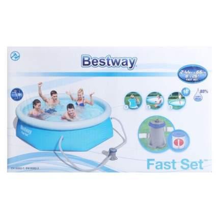 Bestway, Бассейн с надувным бортом 244х66 см, 2100 л, с фильтр-насос 1249л/ч., 57268 BW