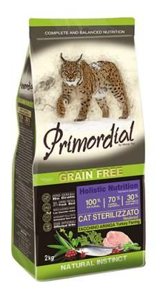 Сухой корм для кошек Primordial Natural instinct, для стерилизованных, индейка,сельдь, 2кг
