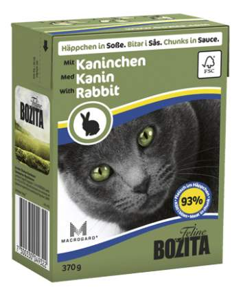 Консервы для кошек BOZITA Feline Chunks In Sauce, с кроликом в соусе, 16шт по 370г