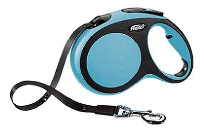 Поводок-рулетка Flexi New Comfort L до 60 кг, лента 5 м, черный-синий
