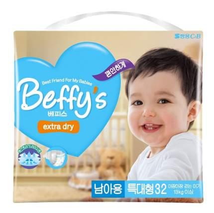 Подгузники Beffy's Extra Dry для мальчиков Xl (0-13 кг), 32 шт.