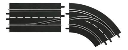 Автотрек Carrera Поворот справа со сменой полосы, с внешней на внутреннюю