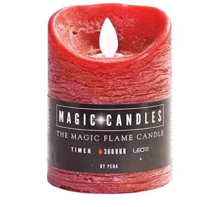 Светильник свеча восковая с живым пламенем, 10*7.5 см, красный, батарейка MB-20119