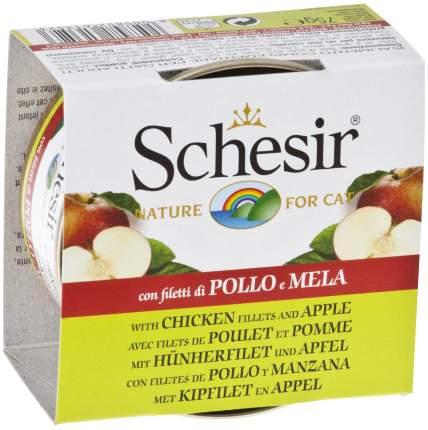 Консервы для кошек Schesir, цыпленок, яблоко, 75г