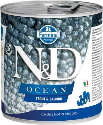 Влажный корм для собак Farmina N&D Ocean, форель и лосось, 285г