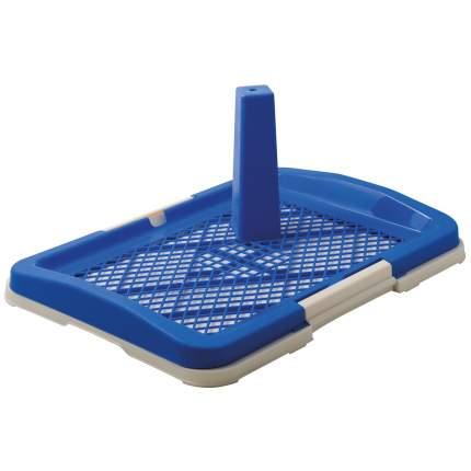Лоток для собак ZooOne со столбиком, малый, синий, 48x35x6 см