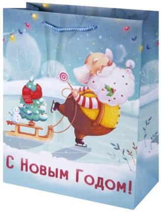 """Пакет бумажный """"Санта на коньках"""", 26х32,4х12,7 см"""
