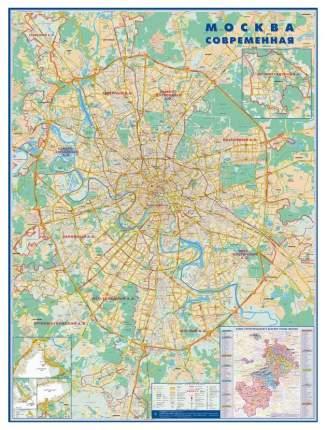 Настенная карта Атлас Принт «Москва современная» 1:34 тыс. 158х118 см