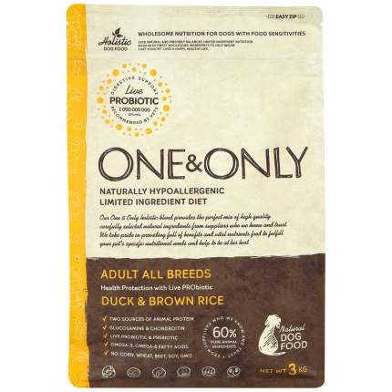 Сухой корм для собак ONE&ONLY Adult All Breeds Duck&Rice, все породы, утка с рисом, 3кг