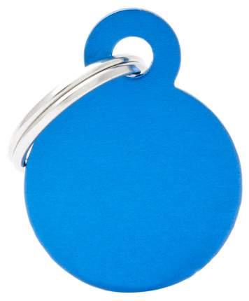 Адресник My Family Basic алюминиевый круглый для кошек и собак (2,5 см, Синий)