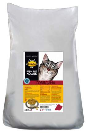 Сухой корм для кошек Васька, для профилактики МКБ, говядина, 10кг