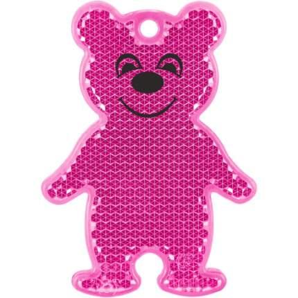 Светоотражатель пешеходный Мишка, Розовый