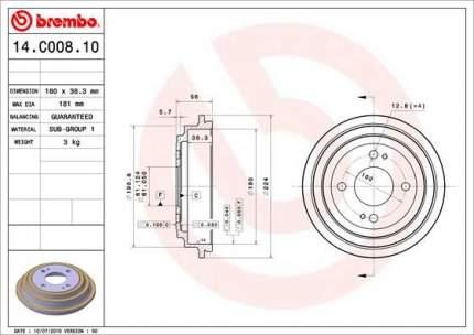 Тормозной барабан BREMBO 14.C008.10