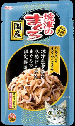 Влажный корм для кошек AIXIA «Yaizu-no-Maguro», тунец, куриное филе и ширасу в желе 60г