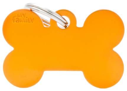 Адресник на ошейник для собак My Family Colors Косточка, большая, оранжеваяя, 4 см