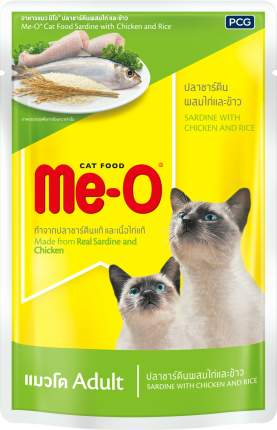 Влажный корм для кошек Me-O, курица, тунец, 80г