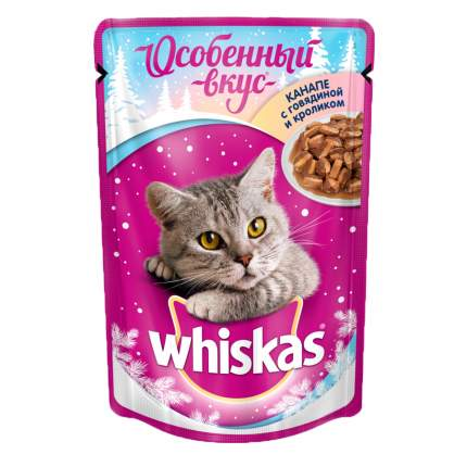 Влажный корм для кошек Whiskas Особенный вкус, с кроликом и телятиной  24 шт по 85г