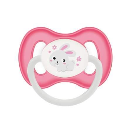 Пустышка симметричная Canpol Bunny & company силикон, 6-18 мес розовый/зайчик