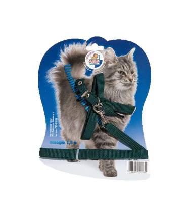 Шлейка с поводком для кошек Зооник из стропы на подкладке, 1,5 м черный