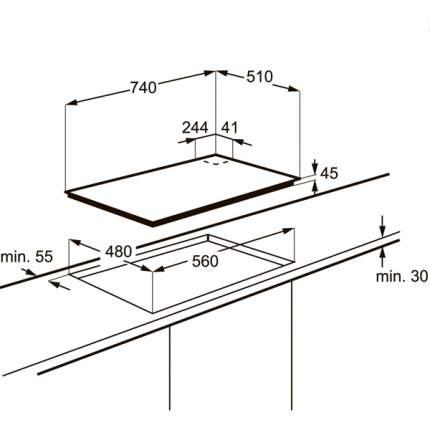 Встраиваемая варочная панель газовая Electrolux EGT97657NK Black/Silver